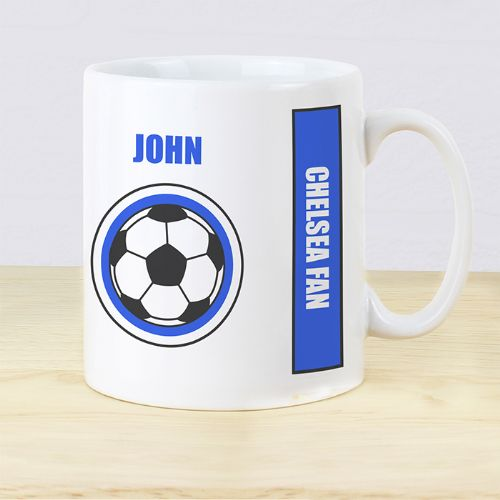 Personalised Dark Blue Football Fan Mug